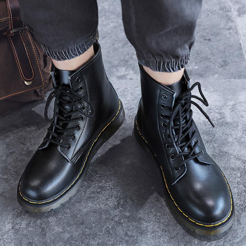 thumbnail 49 - Womens Platform Biker Boots Comfy Black Leather Punk Goth Thick Sole Ankle Shoes