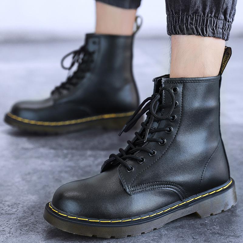 thumbnail 50 - Womens Platform Biker Boots Comfy Black Leather Punk Goth Thick Sole Ankle Shoes