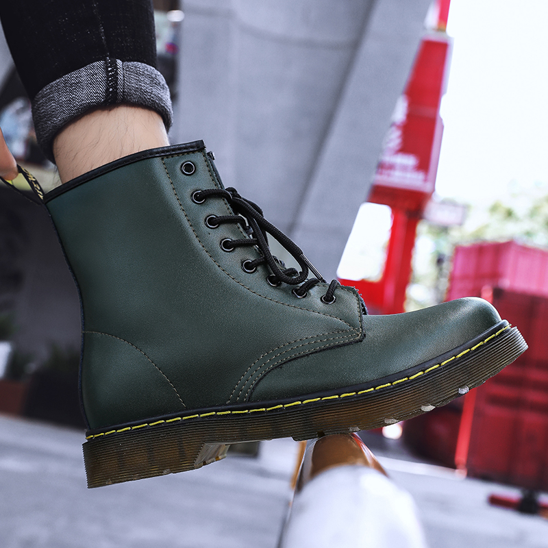 thumbnail 60 - Womens Platform Biker Boots Comfy Black Leather Punk Goth Thick Sole Ankle Shoes