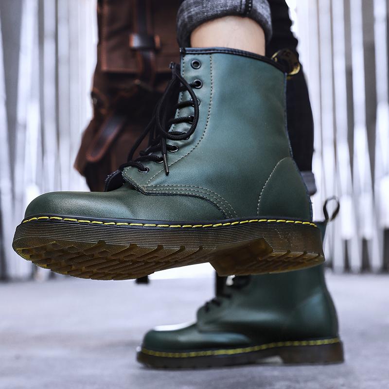 thumbnail 61 - Womens Platform Biker Boots Comfy Black Leather Punk Goth Thick Sole Ankle Shoes