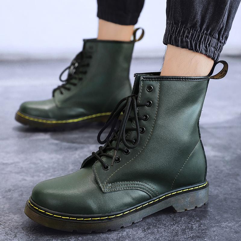 thumbnail 62 - Womens Platform Biker Boots Comfy Black Leather Punk Goth Thick Sole Ankle Shoes