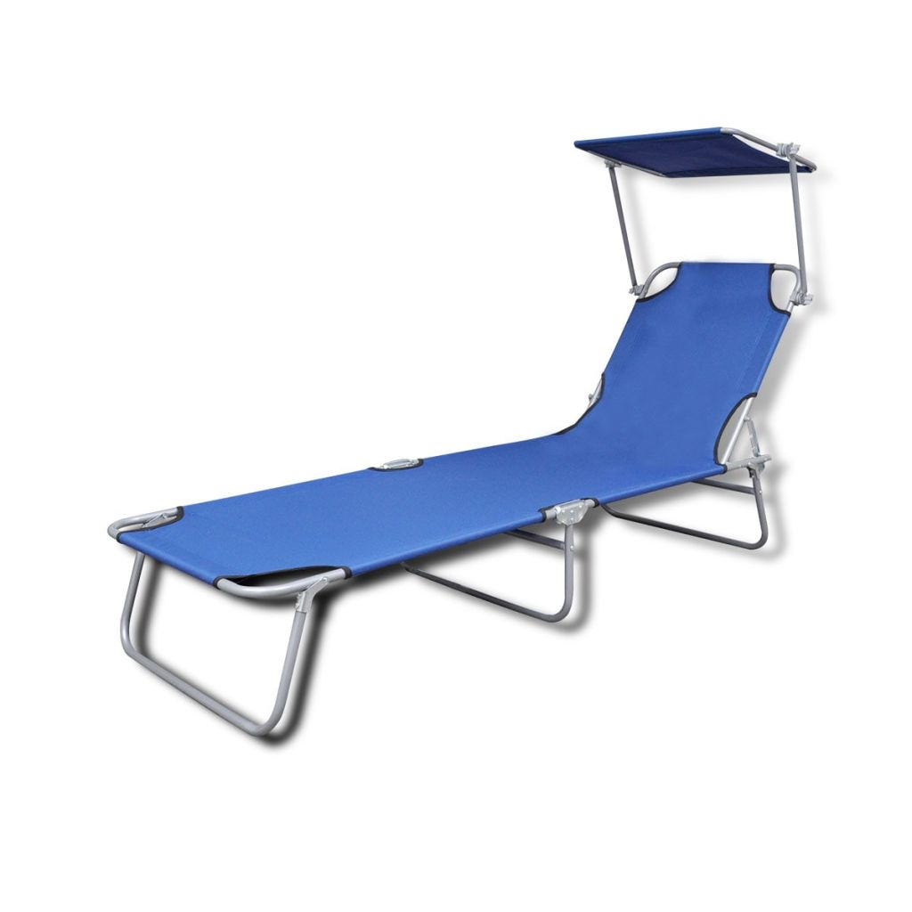 Details About Outdoor Garden Sun Lounger Beach Lounge Chair Folding Blue W Canopy