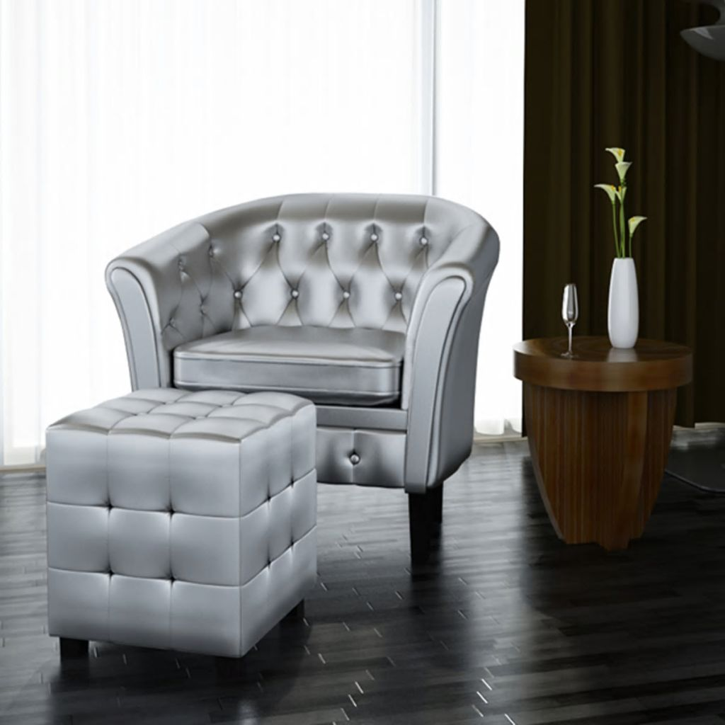 Remarkable Details About Artificial Leather Tub Sofa Chair Back Lounger Office Armchair Footrest Silver Bralicious Painted Fabric Chair Ideas Braliciousco