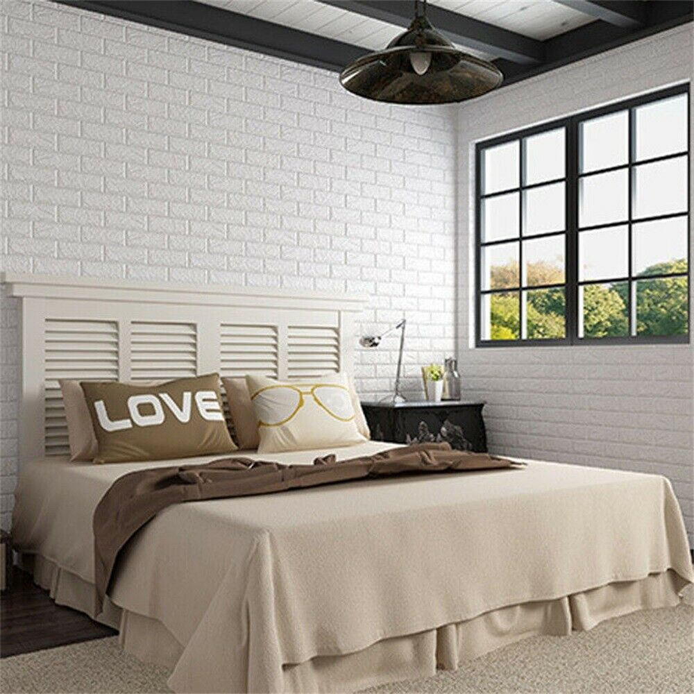 Details about 3D White Brick Wallpaper Living Room Bedroom Modern Wall  European Style Decor