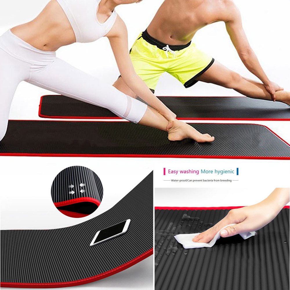 yoga Blue /& Purple 3 colors Black 183cm and 10mm Yoga /& Exercise Mat for aerobics Pilates and gymnastics suitable for both man and women with non-slip material with carry Strap for Yoga