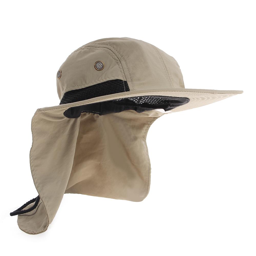 ec9d0dcb71c22 Boonie Fishing Boating Hiking Hat Brim Ear Neck Cover Bucket Sun Snap Flap  Cap