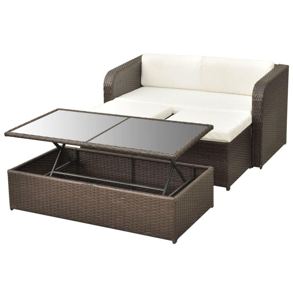 Vidaxl Outdoor Lounge Set 9 Pieces Poly Rattan Garden Sofa Table