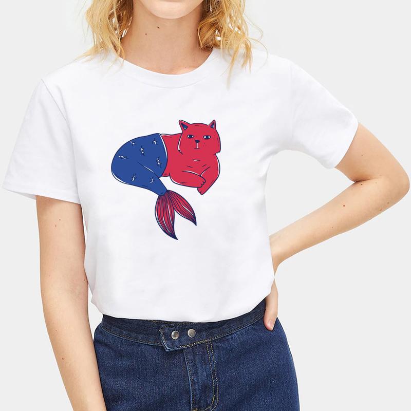 Cute-Animals-Cat-Tee-Summer-O-Neck-Short-Sleeve-T-shirt-Women-Men-Tops-Blouse thumbnail 28