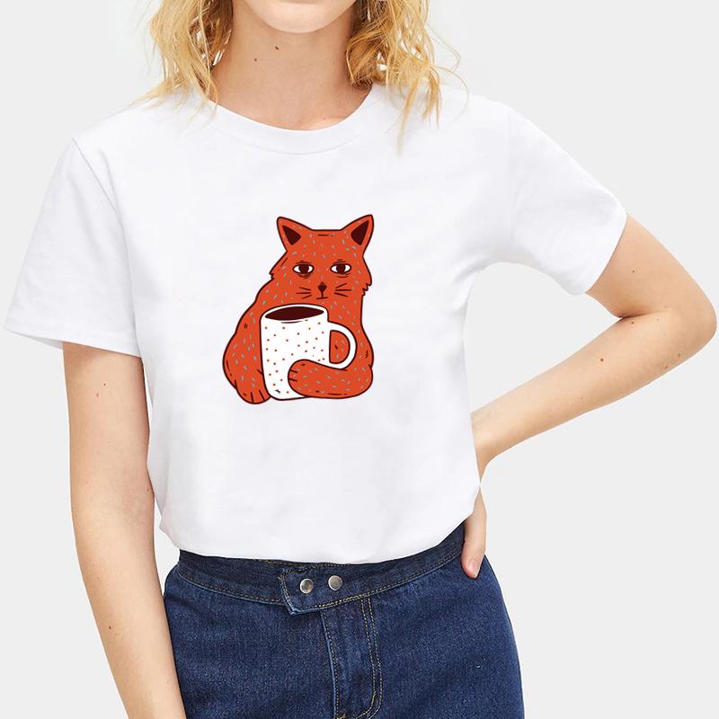 Cute-Animals-Cat-Tee-Summer-O-Neck-Short-Sleeve-T-shirt-Women-Men-Tops-Blouse thumbnail 38