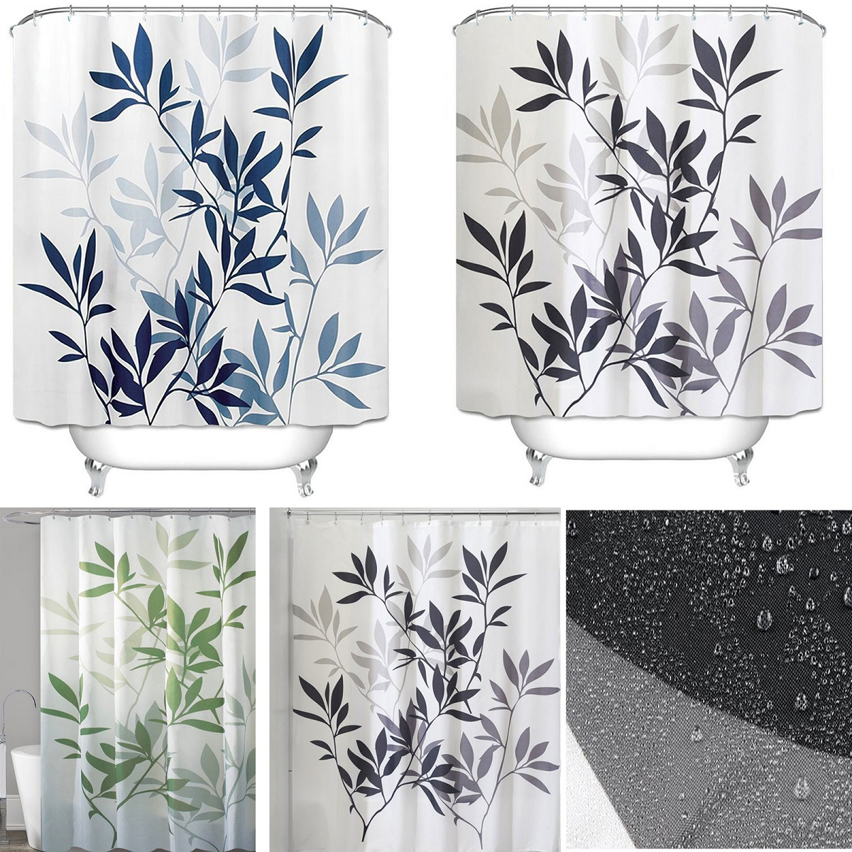 Details About Fabric Shower Curtain With Hook Ring Extra Wide Extra Long Waterproof Washable