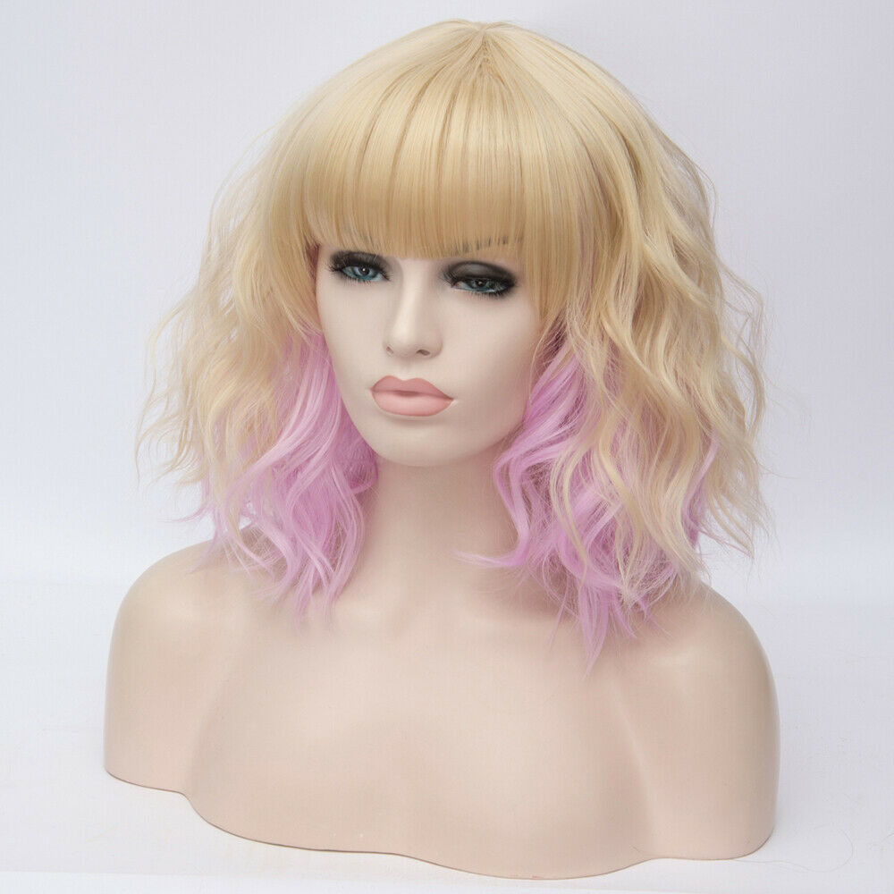 Lolita-Heat-Resistant-Wig-Anime-Short-Curly-Wavy-Synthetic-Hair-Cosplay-Party-US miniature 68