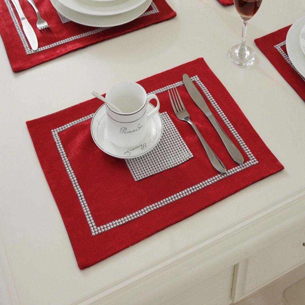 STRASS-Table-Runner-sets-de-table-epais-velours-chenille-Mariage-Noel-Fete-Decor miniature 14