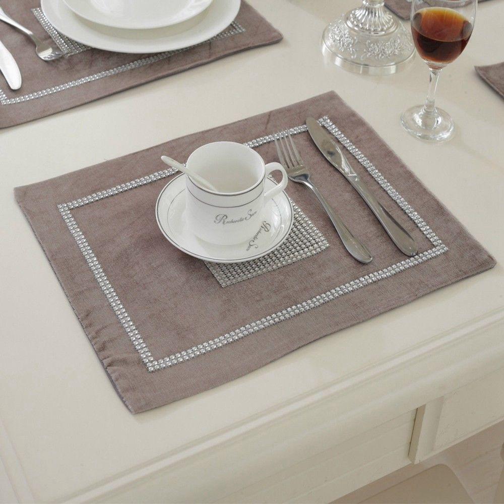 STRASS-Table-Runner-sets-de-table-epais-velours-chenille-Mariage-Noel-Fete-Decor miniature 16