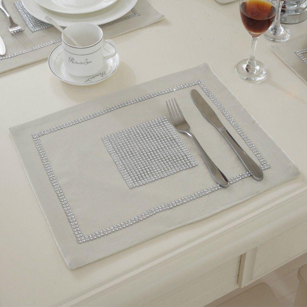 STRASS-Table-Runner-sets-de-table-epais-velours-chenille-Mariage-Noel-Fete-Decor miniature 18