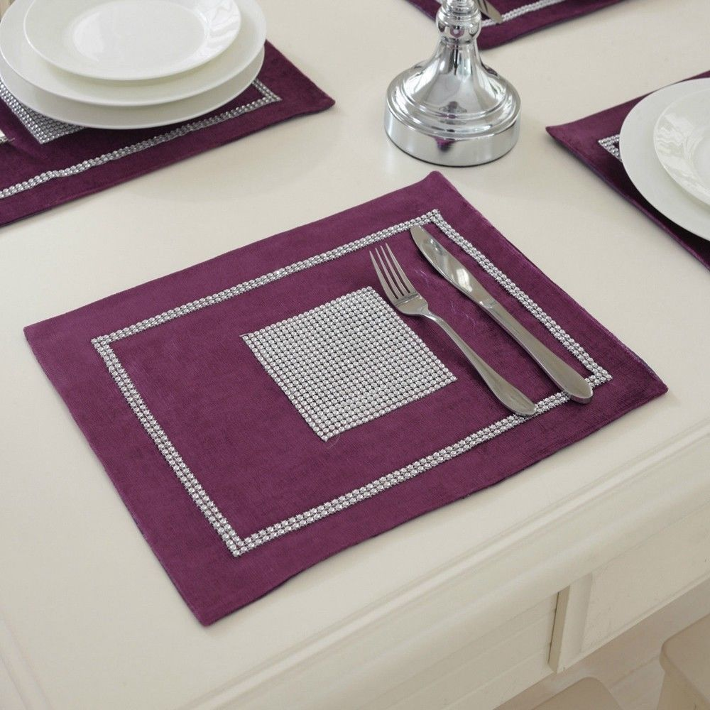 STRASS-Table-Runner-sets-de-table-epais-velours-chenille-Mariage-Noel-Fete-Decor miniature 20