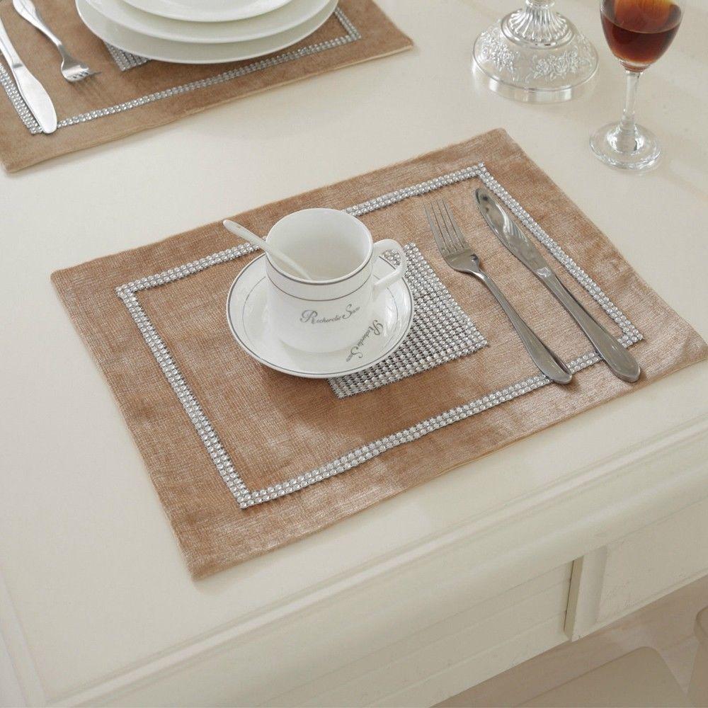 STRASS-Table-Runner-sets-de-table-epais-velours-chenille-Mariage-Noel-Fete-Decor miniature 24