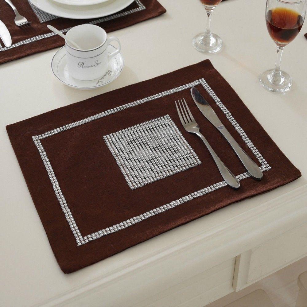 STRASS-Table-Runner-sets-de-table-epais-velours-chenille-Mariage-Noel-Fete-Decor miniature 28