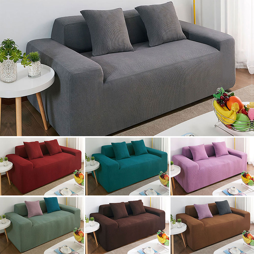1-4 Seats Polyester Stretchy Sofa Cushion Cover Home Waterproof Hair Replacement