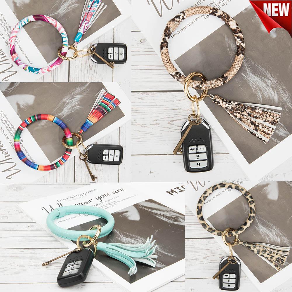 Round Key Ring Chains Leather Oversized Bracelet Bangle Keyc