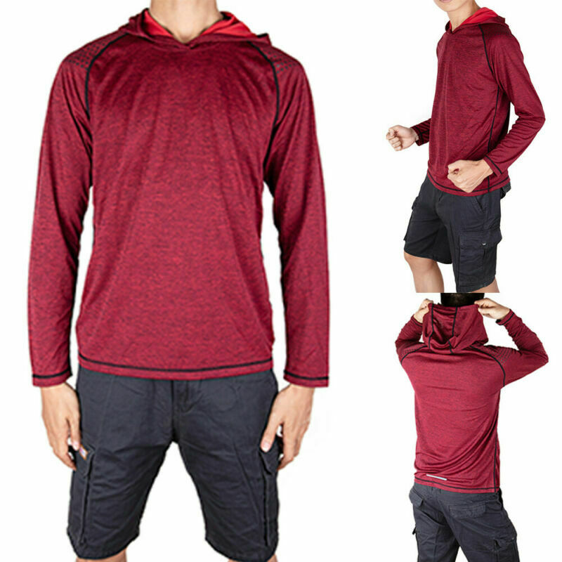 Men-039-s-Long-Sleeve-Shirts-Hooded-Muscle-Tops-Hoodie-Casual-Fashion-Gyms-T-Shirt thumbnail 13