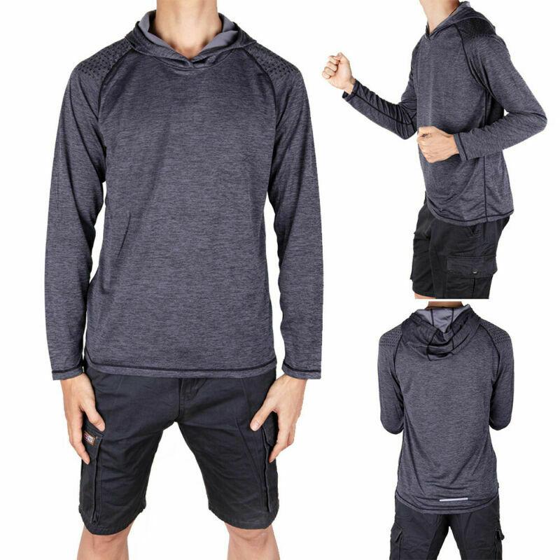 Men-039-s-Long-Sleeve-Shirts-Hooded-Muscle-Tops-Hoodie-Casual-Fashion-Gyms-T-Shirt thumbnail 17