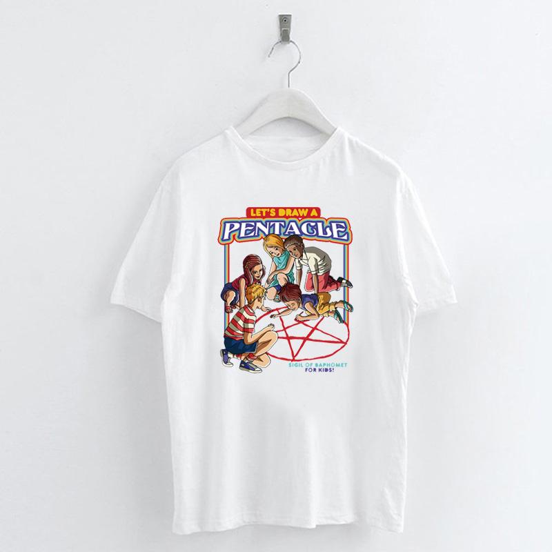 Fashion-Summer-Devil-Print-T-Shirt-White-Short-Sleeve-Casual-Tees-Soft-Tops thumbnail 12