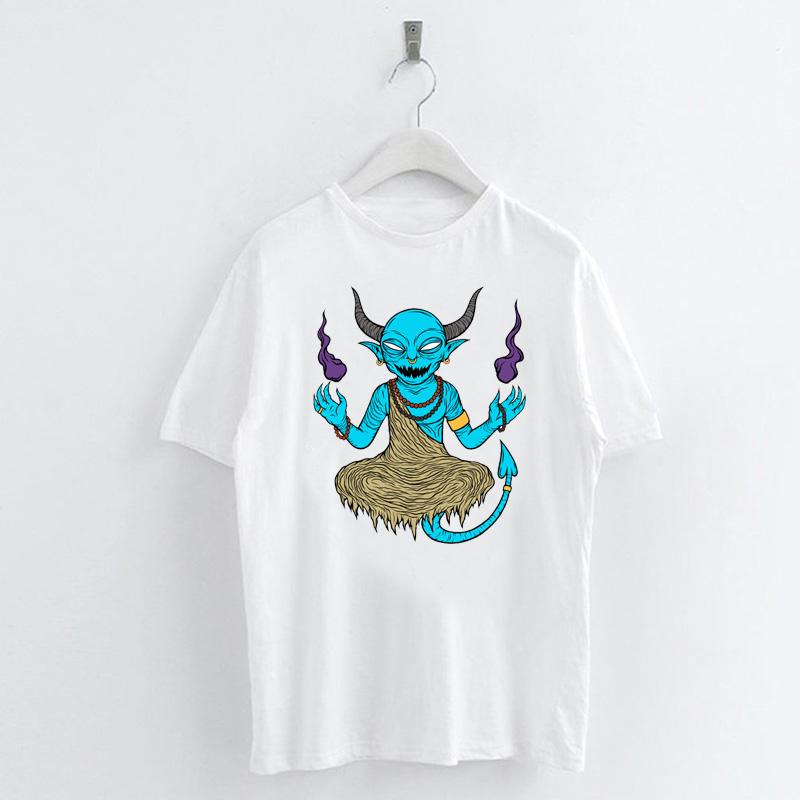 Fashion-Summer-Devil-Print-T-Shirt-White-Short-Sleeve-Casual-Tees-Soft-Tops thumbnail 30