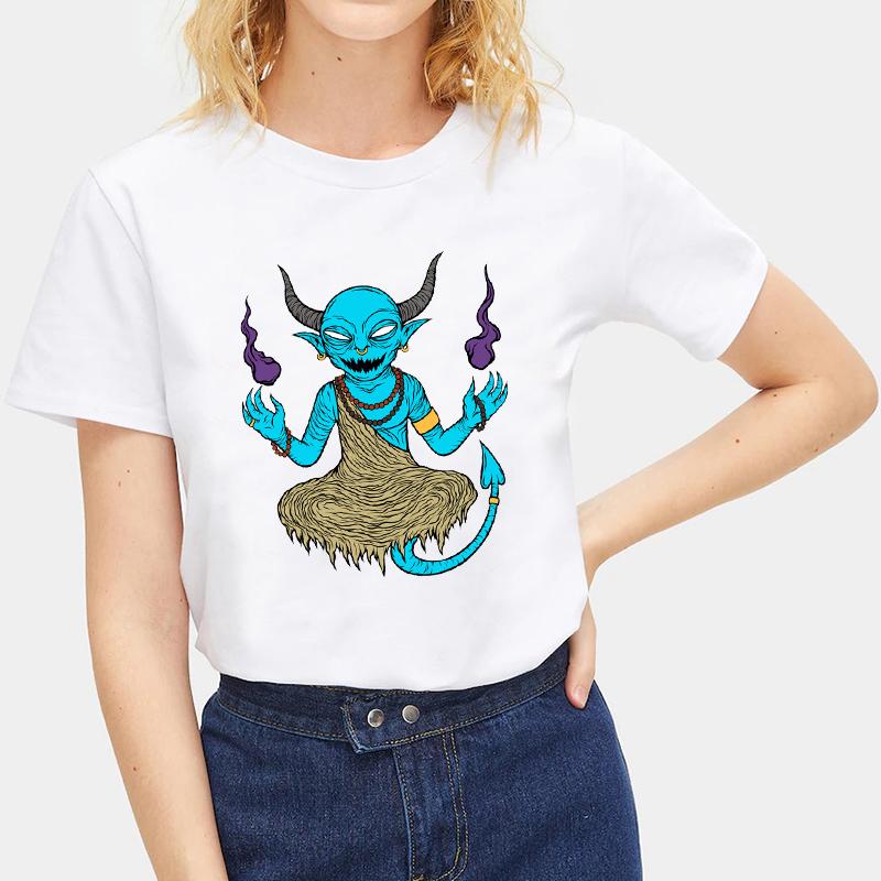Fashion-Summer-Devil-Print-T-Shirt-White-Short-Sleeve-Casual-Tees-Soft-Tops thumbnail 31