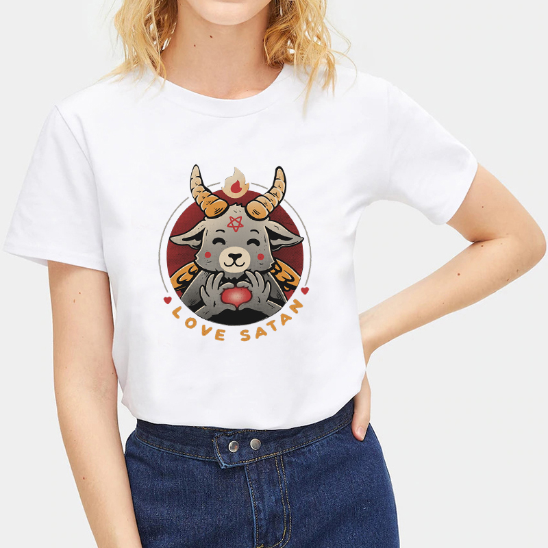 Fashion-Summer-Devil-Print-T-Shirt-White-Short-Sleeve-Casual-Tees-Soft-Tops thumbnail 39
