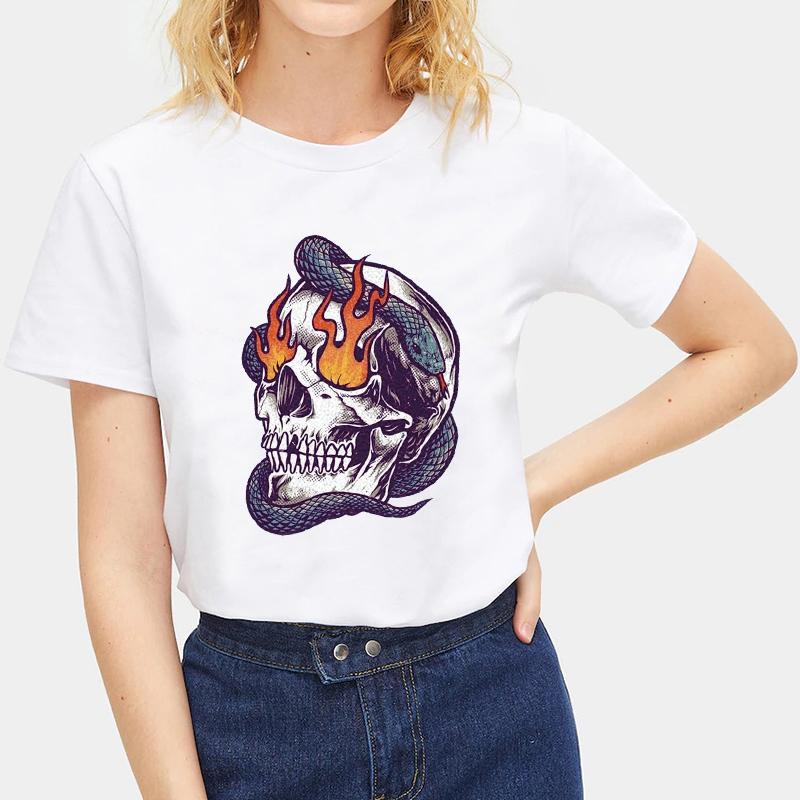 Fashion-Summer-Devil-Print-T-Shirt-White-Short-Sleeve-Casual-Tees-Soft-Tops thumbnail 43