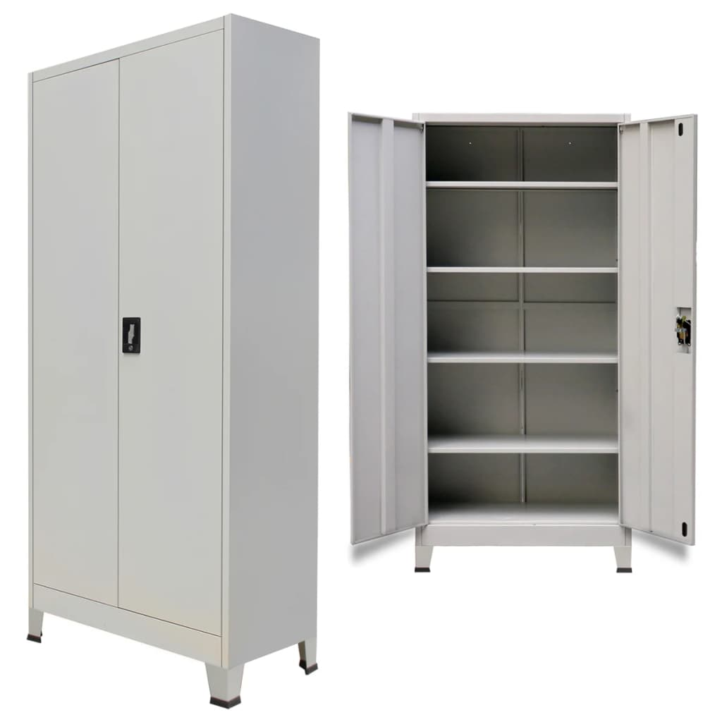 Details about filing cabinet 2 doors 4 shelves steel for file storage office furniture