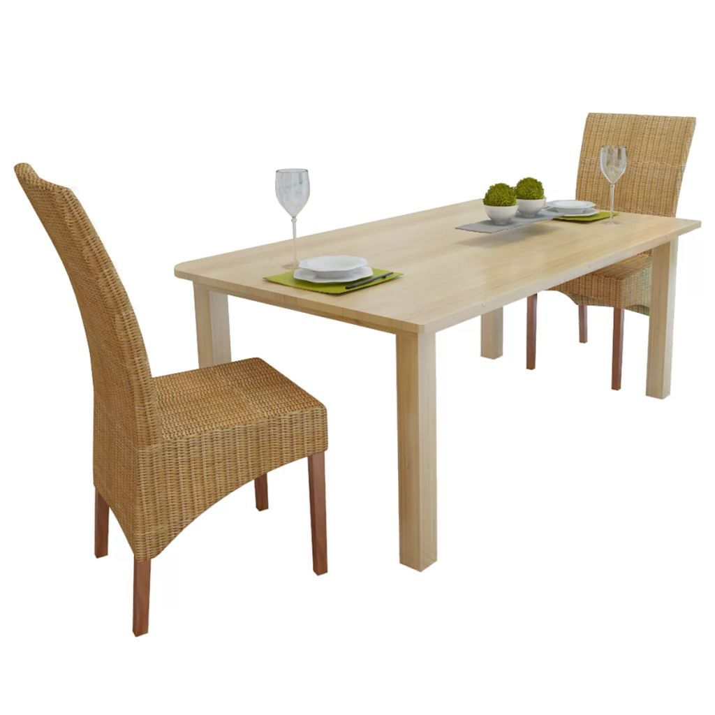 Details about Dining Chairs 2 Pcs Genuine Rattan Brown Furniture Home  Kitchen Dining Room