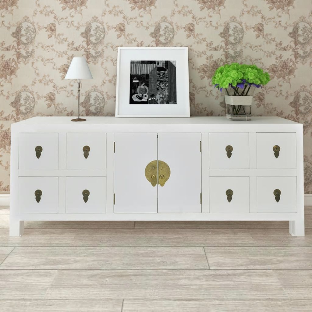 Details About Wooden Sideboard Tv Cabinet Asian Style With 8 Drawers 2 Doors Home Furniture