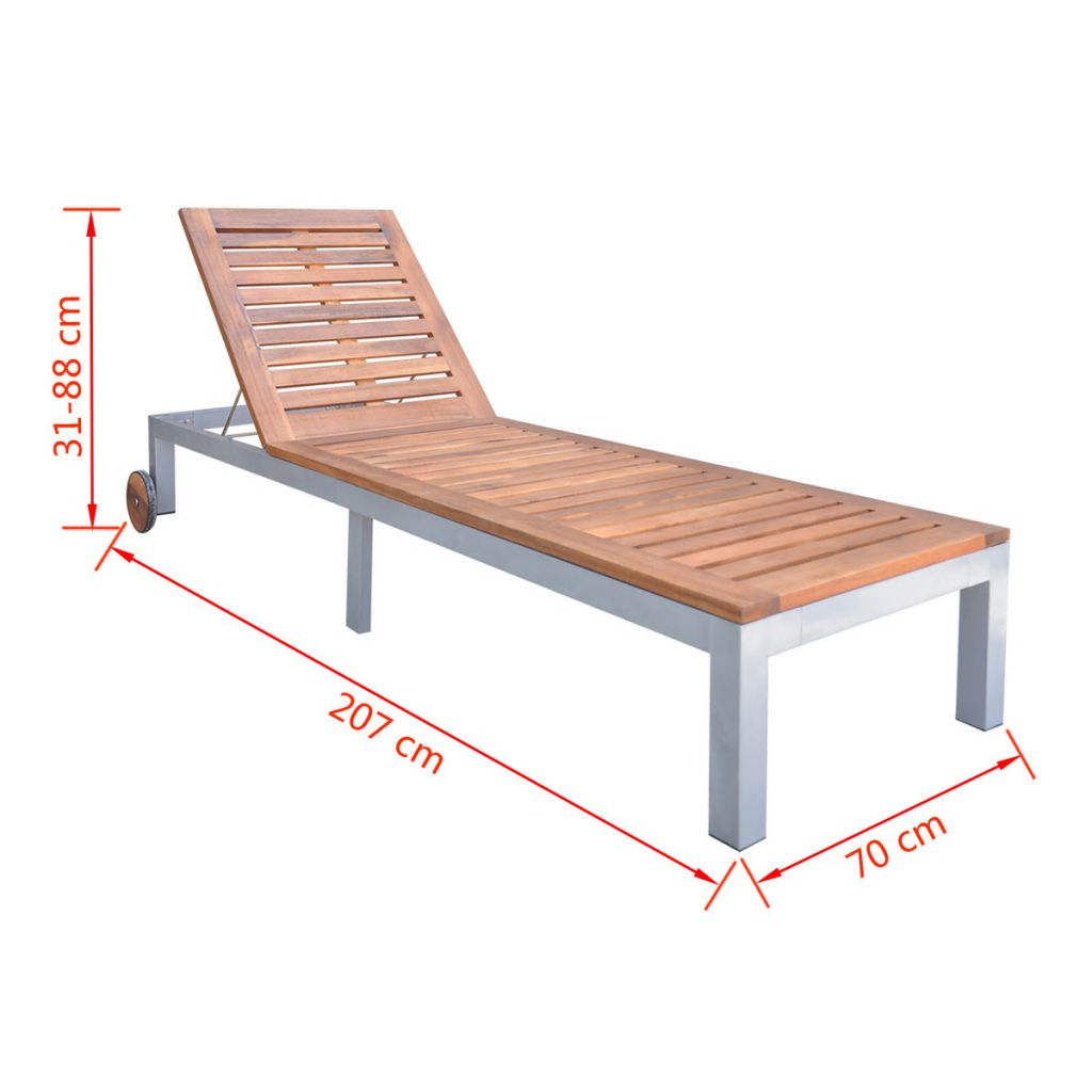 Outstanding Details About Sun Lounger Acacia Wood Bench Swing Beach Garden Yard Adjustable Chair W Wheels Onthecornerstone Fun Painted Chair Ideas Images Onthecornerstoneorg