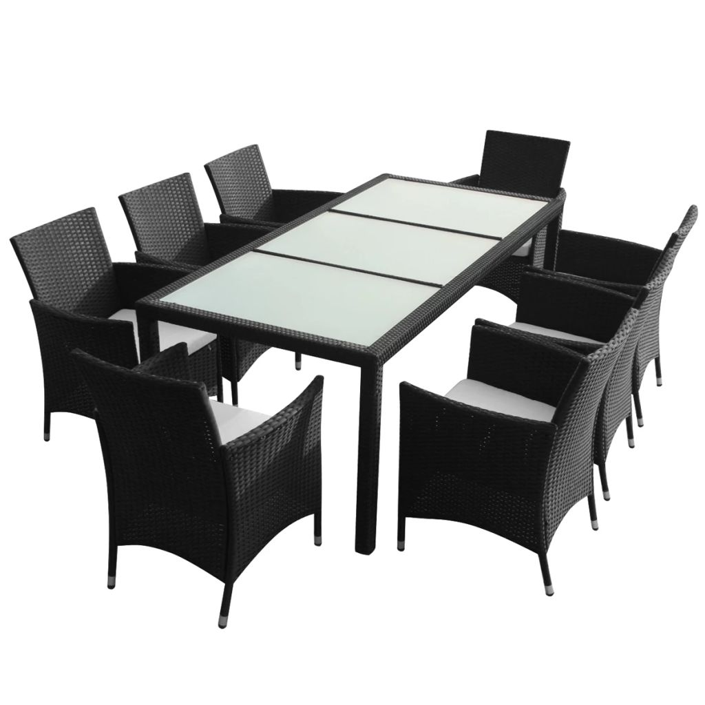 Outdoor Dining Set 17 Pieces 1 Table 8 Chair 8 Cushion Poly Rattan