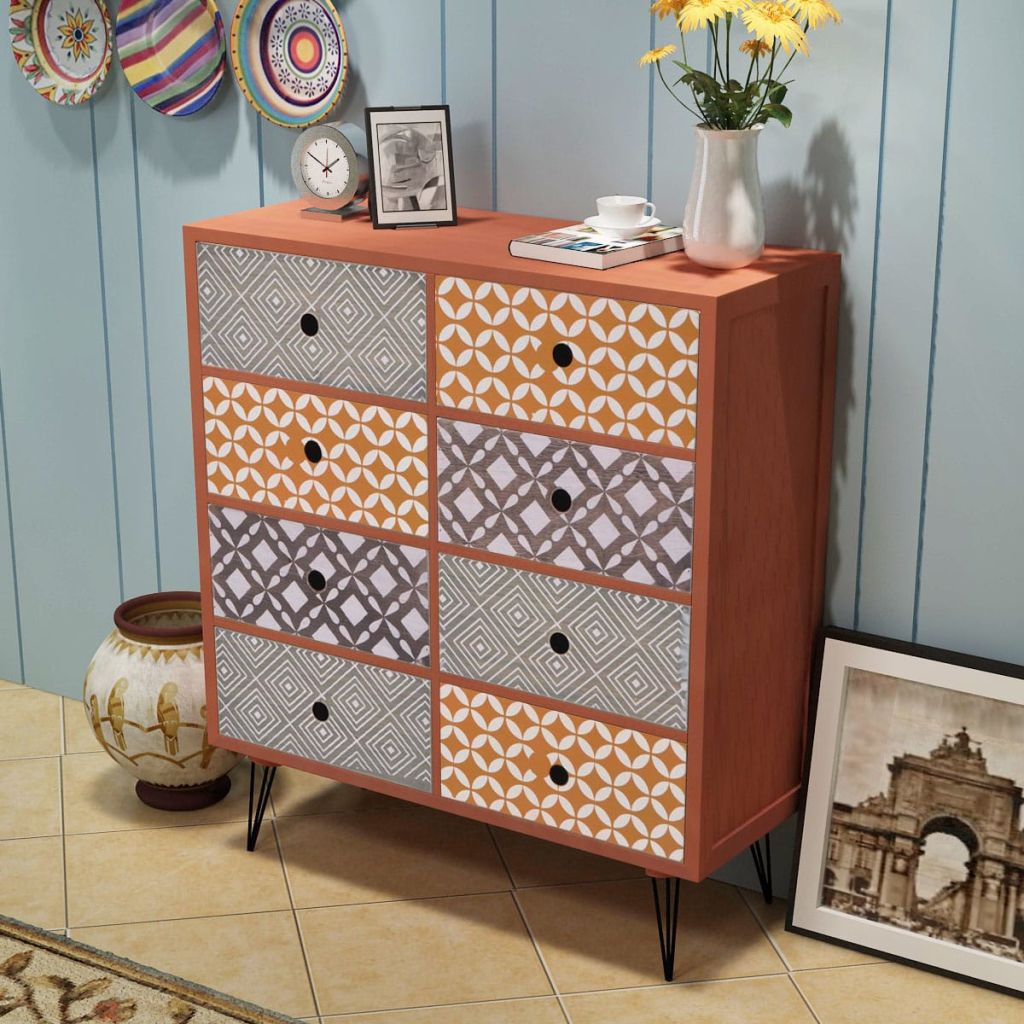 Retro Sideboard 8 Drawers Brown Home Furniture Living Bed
