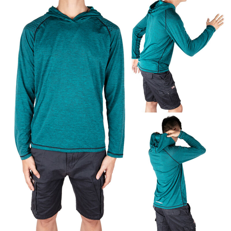 Men-039-s-Solid-Hoodie-Long-Sleeve-Shirts-Sweatshirt-Gym-Muscle-Tops-T-shirt-S-2XL miniatura 22