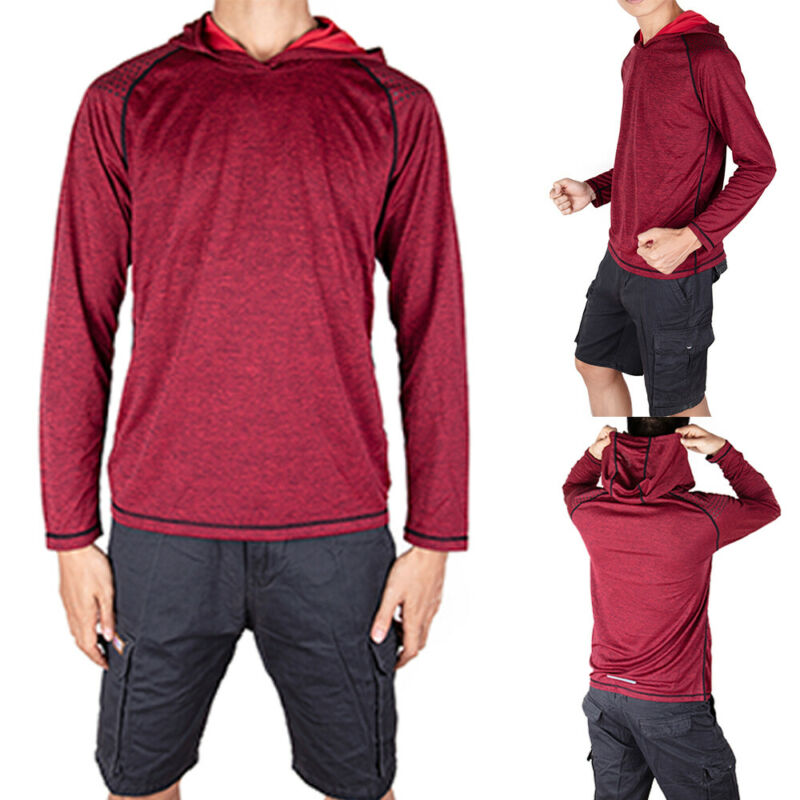 Men-039-s-Solid-Hoodie-Long-Sleeve-Shirts-Sweatshirt-Gym-Muscle-Tops-T-shirt-S-2XL miniatura 14
