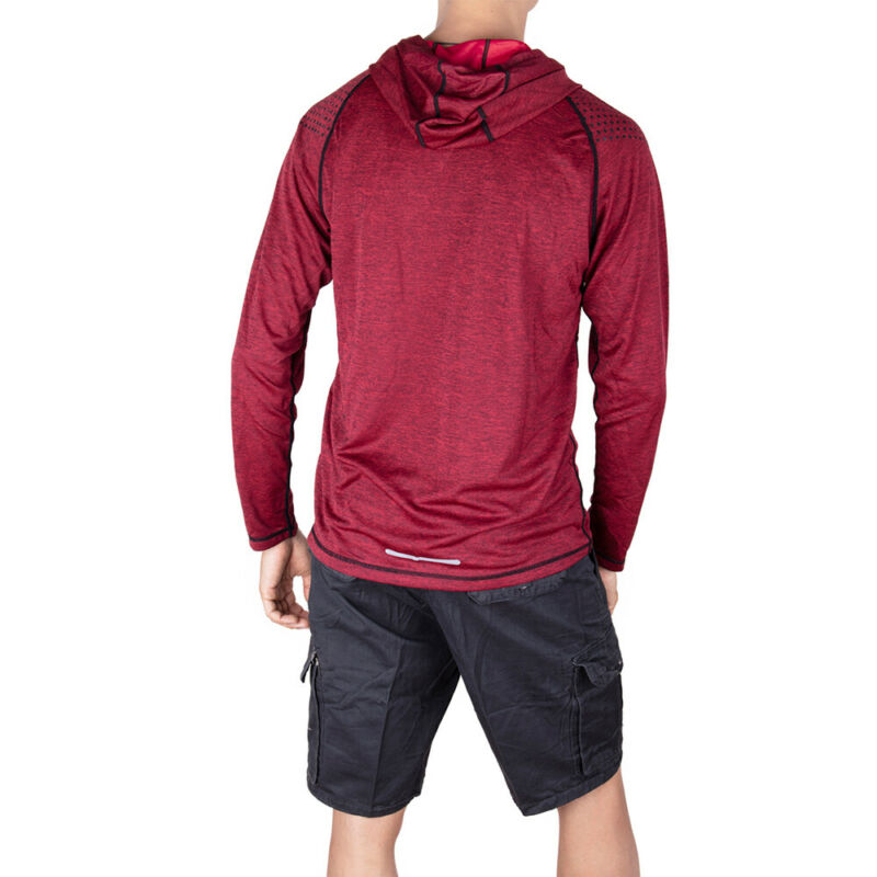 Men-039-s-Solid-Hoodie-Long-Sleeve-Shirts-Sweatshirt-Gym-Muscle-Tops-T-shirt-S-2XL miniatura 15