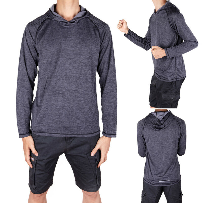 Men-039-s-Solid-Hoodie-Long-Sleeve-Shirts-Sweatshirt-Gym-Muscle-Tops-T-shirt-S-2XL miniatura 18