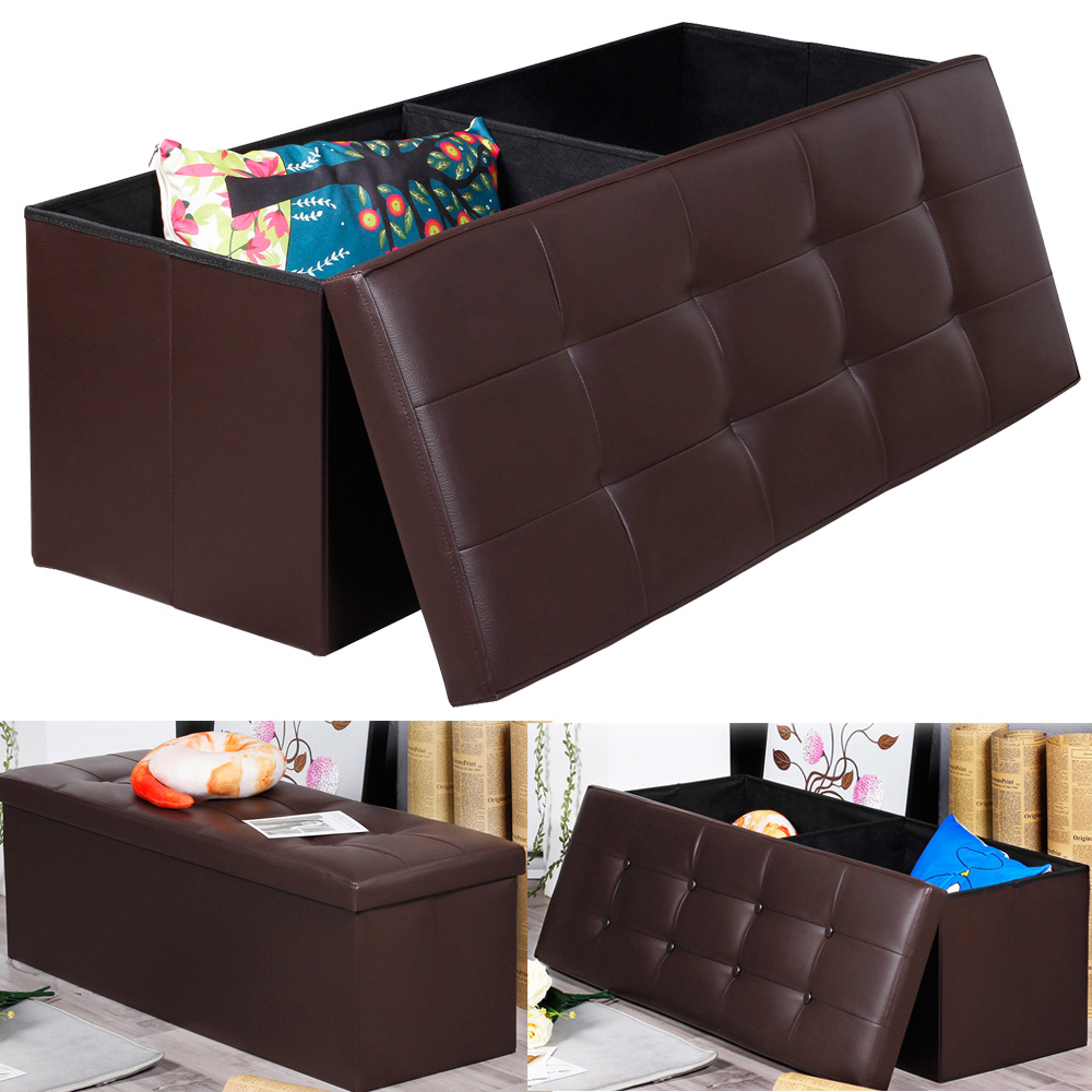 Contemporary Brown Faux Leather Storage Ottoman Bench Foldab