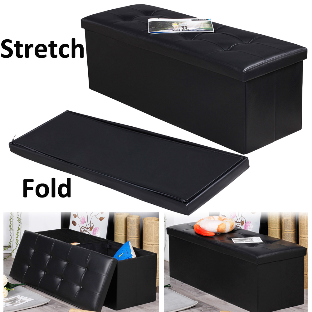 PU Leather Ottoman Pouffe Storage Box Lounge Seat Footstools