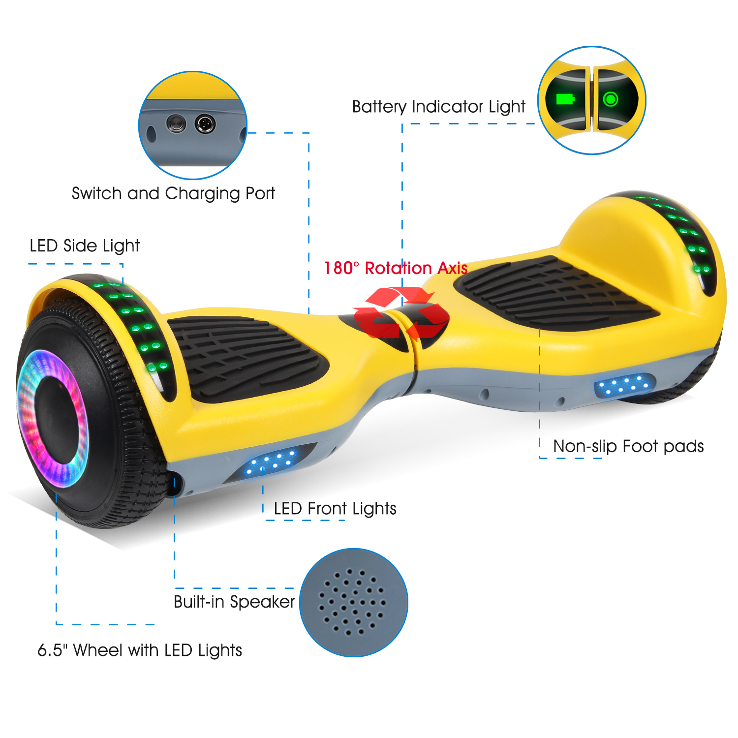 """6.5/"""" Hoverboard Bluetooth Electric Self Balance Scooter without Bag Graffiti"""