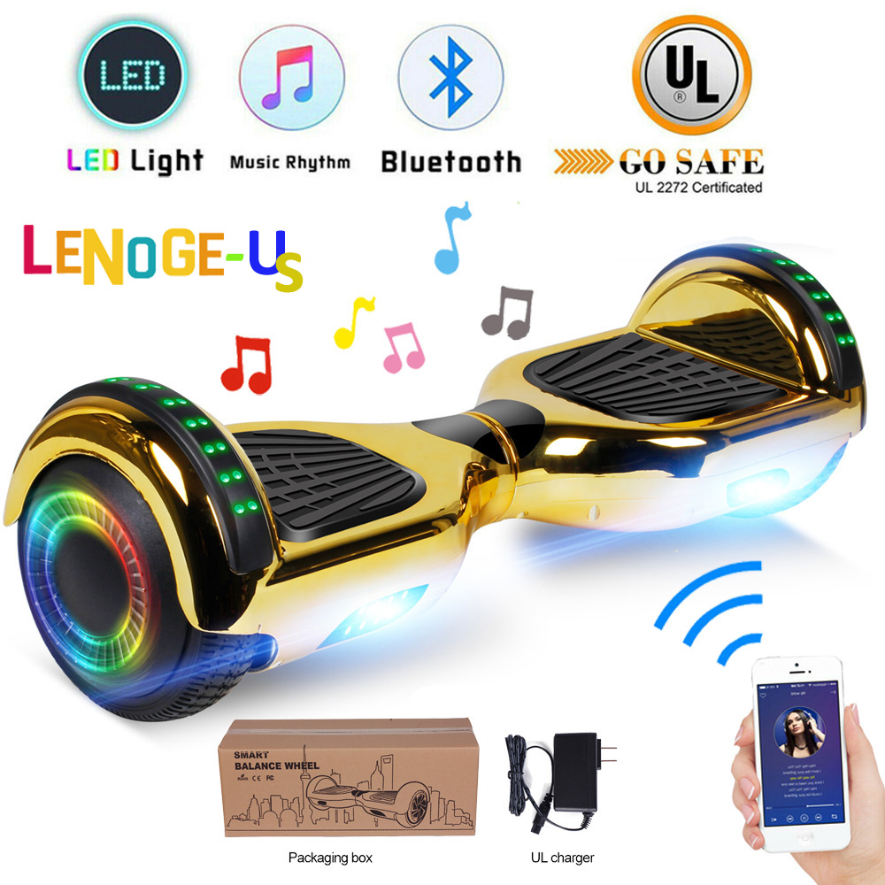 """6.5"""" Bluetooth Hoverboard Self Balancing Scooter ChromeGold"""