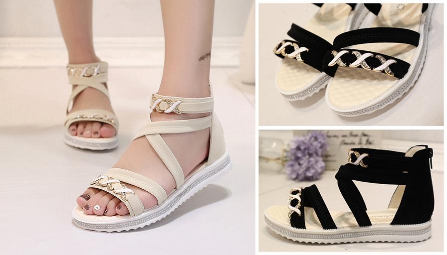 e5ee1ac1920f Women Lady Open Toe Ankle Strap Flat Beach Sandals Summer Platform Wedges  Shoes
