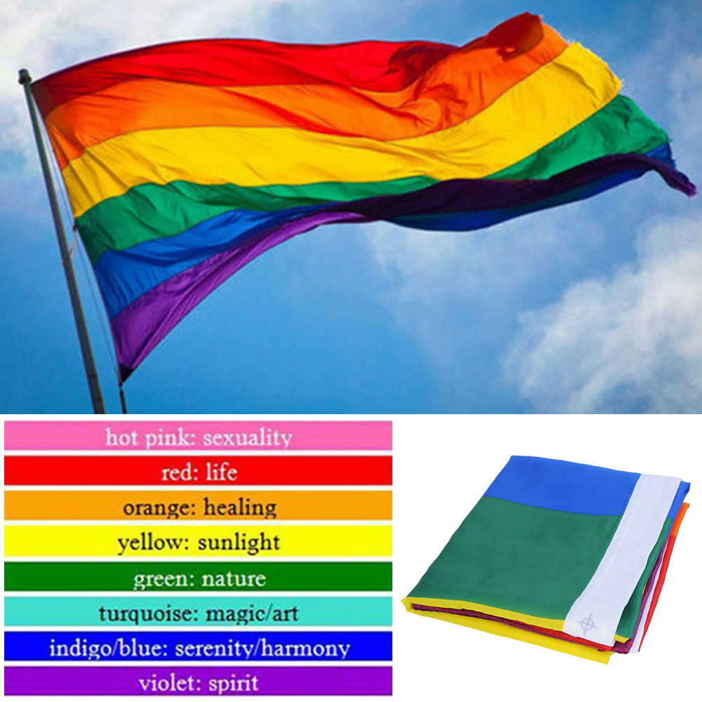 Details about 3x5ft Rainbow Flag Polyester Flag Gay Pride Lesbian Peace LGBT With Grommets