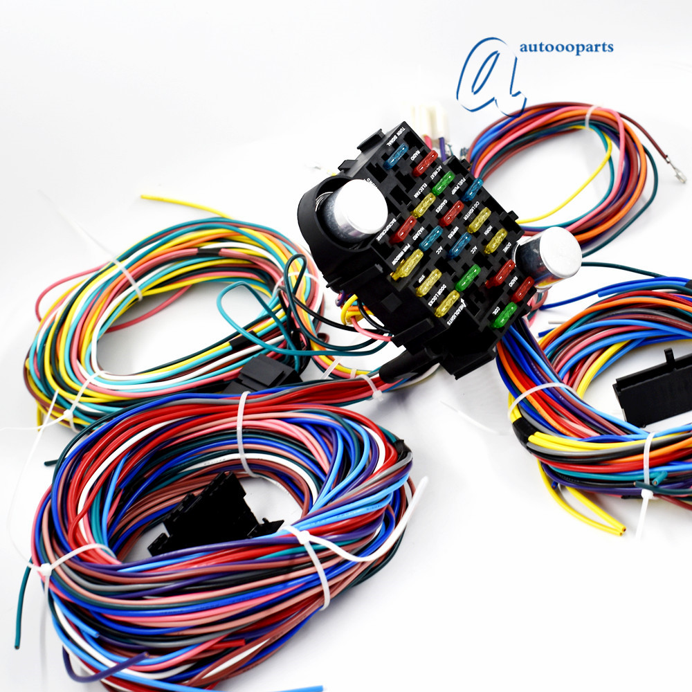 universal 21 circuit wiring harness for chevy mopar ford. Black Bedroom Furniture Sets. Home Design Ideas