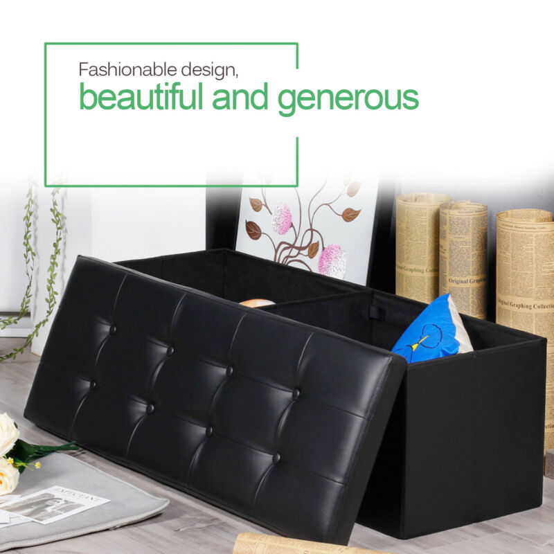 Swell Details About 43 5X15X15 Large Folding Storage Faux Pu Leather Ottoman Pouffe Stool Box Machost Co Dining Chair Design Ideas Machostcouk