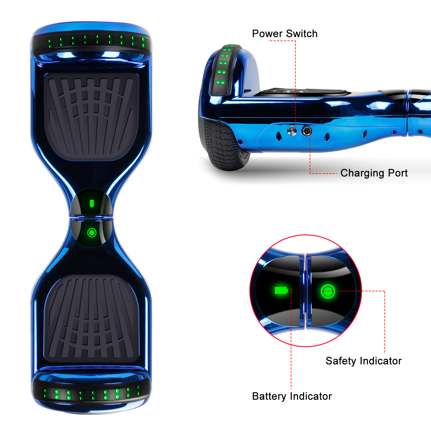 """6.5"""" Hoverboard Bluetooth Electric Balance Scooter with Bag UL2272 Certified 8"""