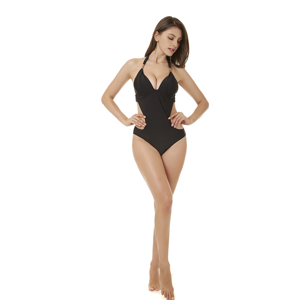 cb2640aa4b1 Women Golden Metal One Piece Bikini Beach Swimsuit Bathing Bathing Swimwear  Sexy